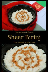 Sheer Birinj a bowl of rice pudding with cinnamon on top