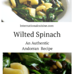 A bowl of espinaca, wilted spinach with apples and pinenuts