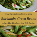 A bowl of burkina faso french green beans with onions and bright red chilies