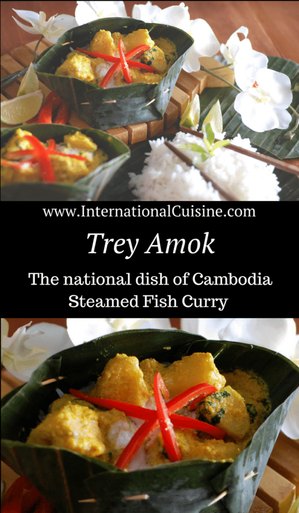 Steamed fish curry served over rice in a banana leaf bowl.
