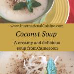 A bowl of white creamy coconut soup