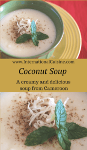 A bowl of white creamy coconut soup