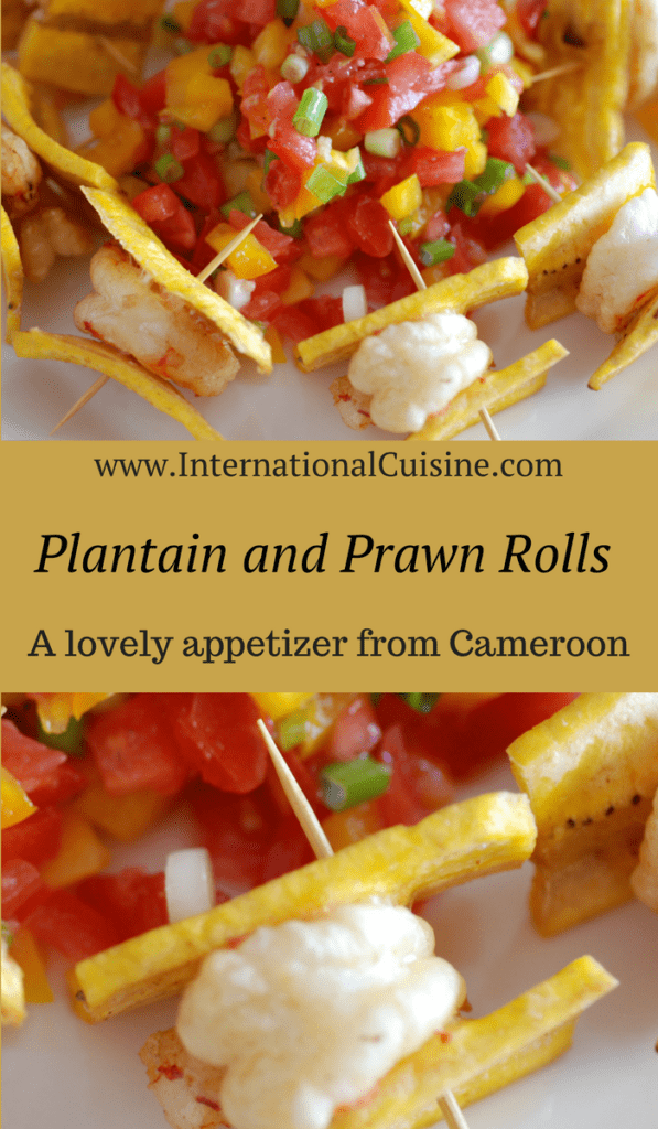 a fried prawn sandwiched between fried plantians. servedwith a tomato and pepper salsa