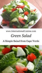 a plate with lettuce, cucumber and tomato mixed together
