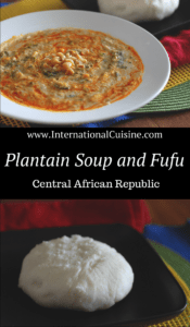 A bowl of plantain soup drizzled with palm oil and garnished with peanuts