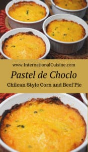 Pastel de choclo a beef and corn pie in individual servings.
