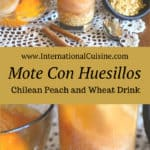 a glass with peaches and mote
