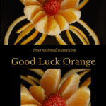 An orange plated to look like a flower