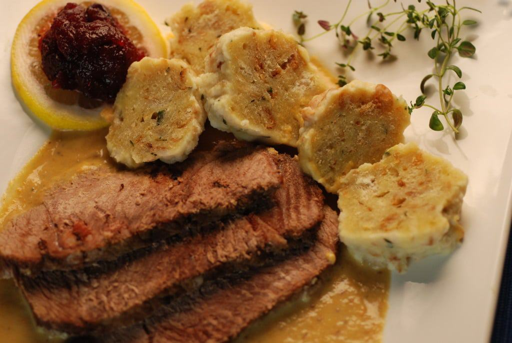Czech Republic beef sirloin with vegetable cream sauce