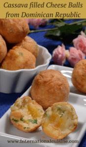Cassava Stuffed cheese balls from the Dominican Republic