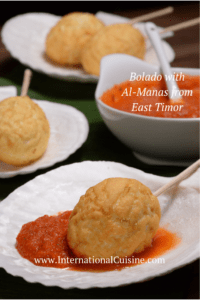 A fried hard boiled egg dipped in a hot chili sauce from East Timor
