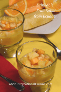 a bowl of tropical fruit in juice from Ecuador