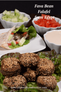 a bunch of Egyptian fava bean falafels with all the fixins