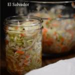 A jar full of El Salvador curtido.