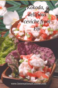 A bowl of Fijian Kokoda, a fresh ceviche in coconut cream