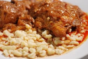 Hungarian chicken paprikash with dumplings