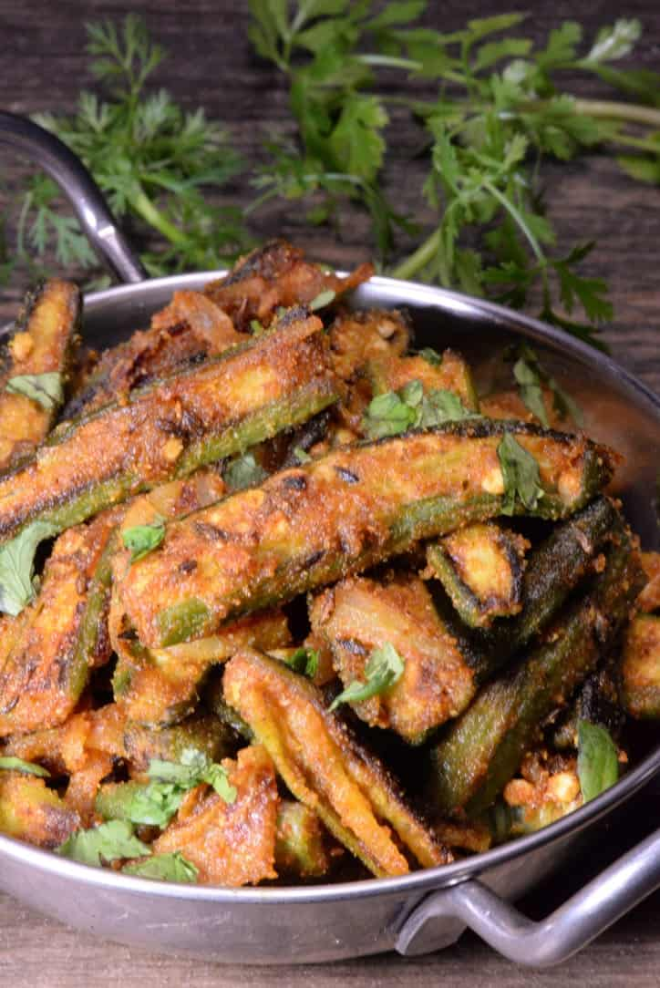 Indian Bhindi Masala Dry Fry Spicy Fried Okra International Cuisine