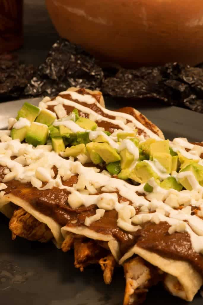 Chicken Mole enchilades