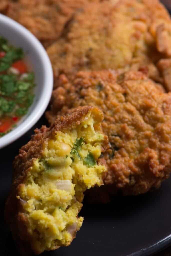 Spiced yellow split pea fritter