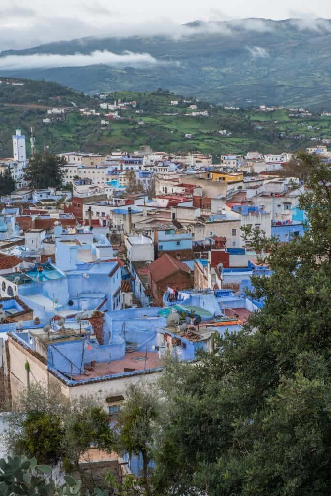 view of chefchaouen from above