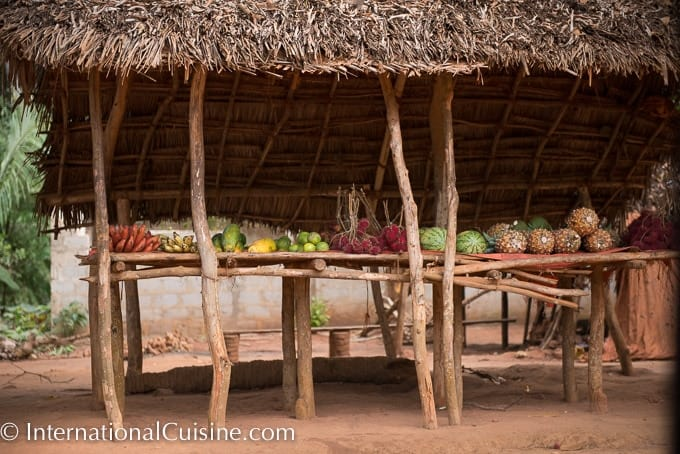 A picture of a fruit stand in Zanzibar