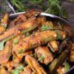 A bowl full of spicy fried okra