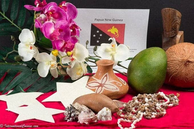 orchids, coconut, mango, pottery, shells, Papua New Guinea flag