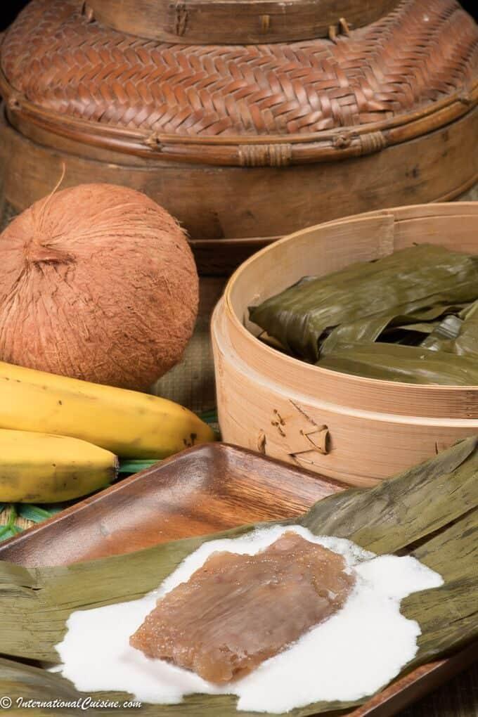 saksak a sago pearl and banana dumpling served on a banana leaf in coconut milk