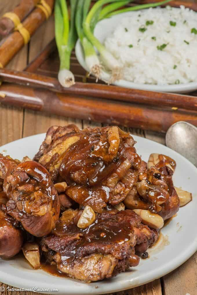 A plate full of chicken adobo