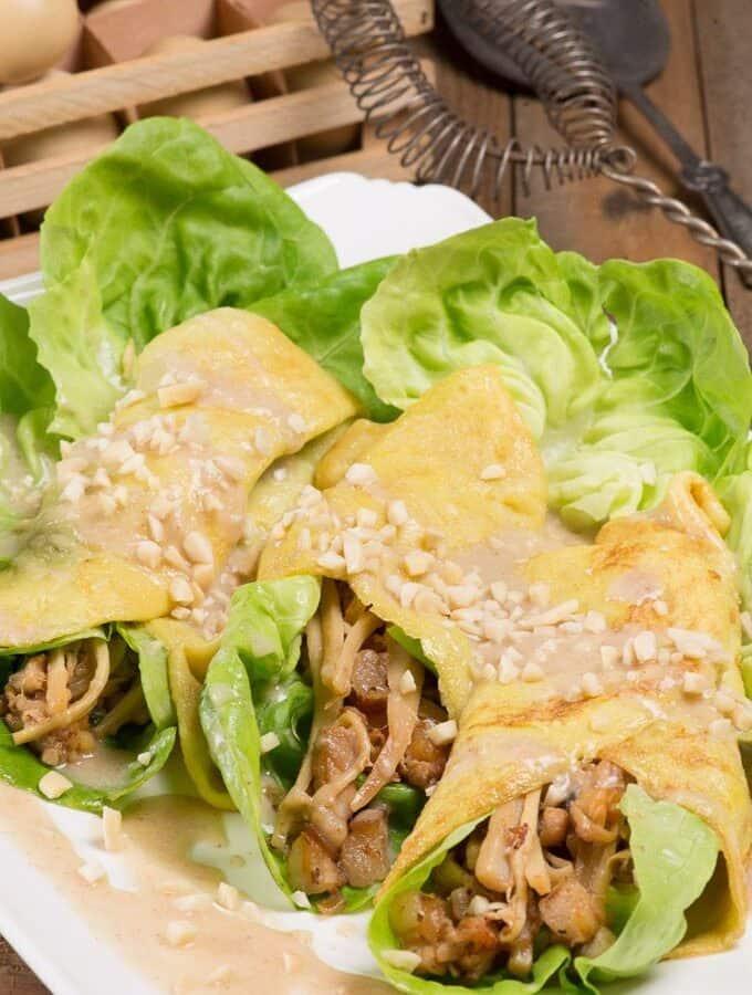 Fresh Lumpia rolls with peanut sauce
