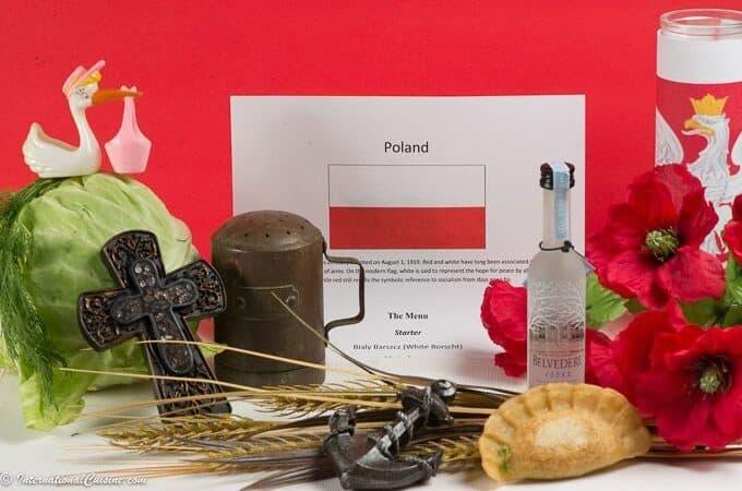 Symbols of Poland Flag, peirogi, vodka, anchor, salt shaker, corn poppies, cabbage, stork, dill and a cross.