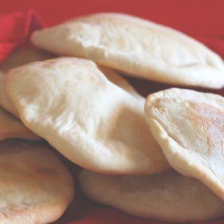 A pile of freshly baked Arabian bread