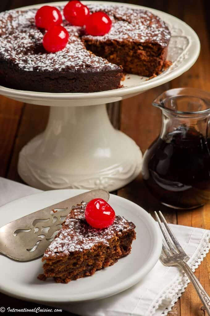 Caribbean Black cake with a cherry on top
