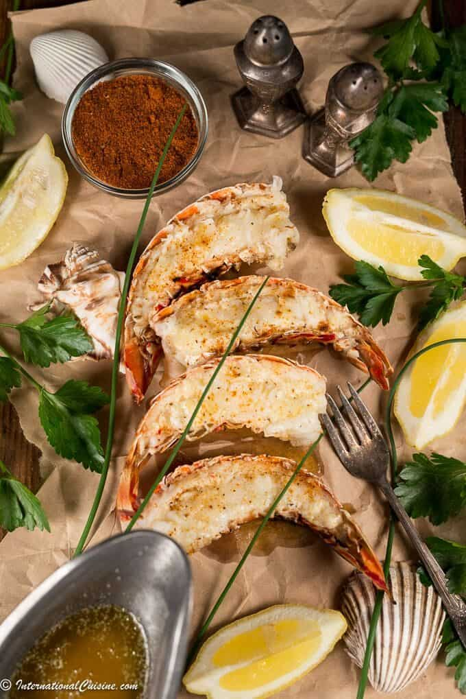 grilled lobster with butter and lemon