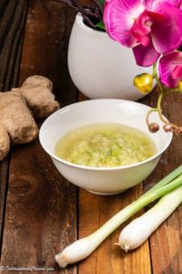A bowl of ginger and spring onion oil