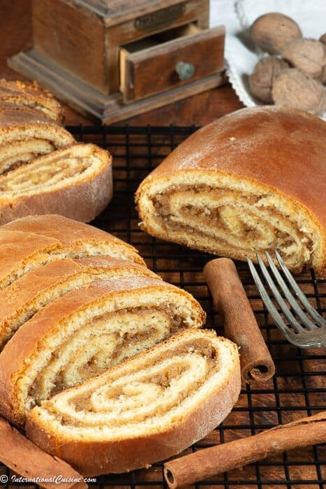 A couple loaves of walnut stuffed potica.