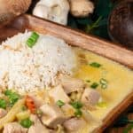 A plateful of tuna coconut curry served with coconut rice