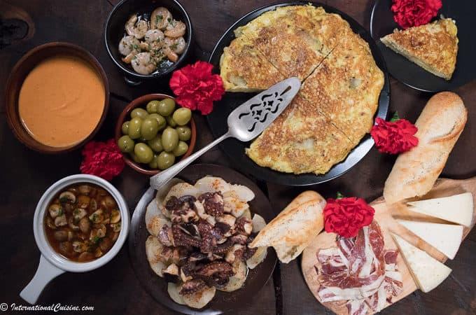 A display of Spanish food