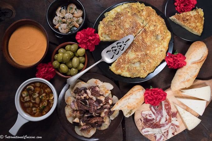 A display of Spanish food