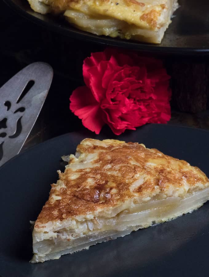 A slice of a Spanish Tortilla