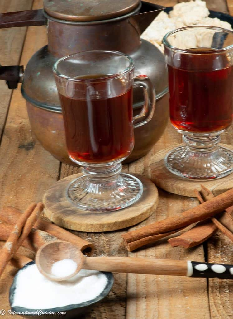 A couple of cups of Sudanese cinnamon tea with sugar
