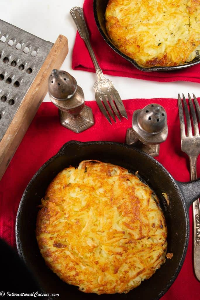 a pan full of Swiss Rosti.