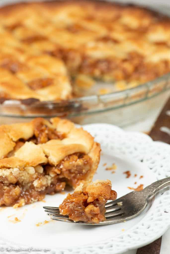 a bite of Swiss walnut pie