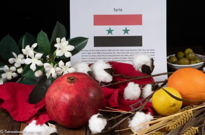 the syrian flag with jasmine, pomegranate, citrus and wheat symbols of Syria.