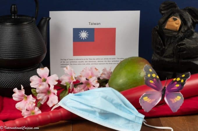 Symbols of Taiwan, a flag, plum blossoms, black bear, butterfly, baseball bat, teapot and a mask.