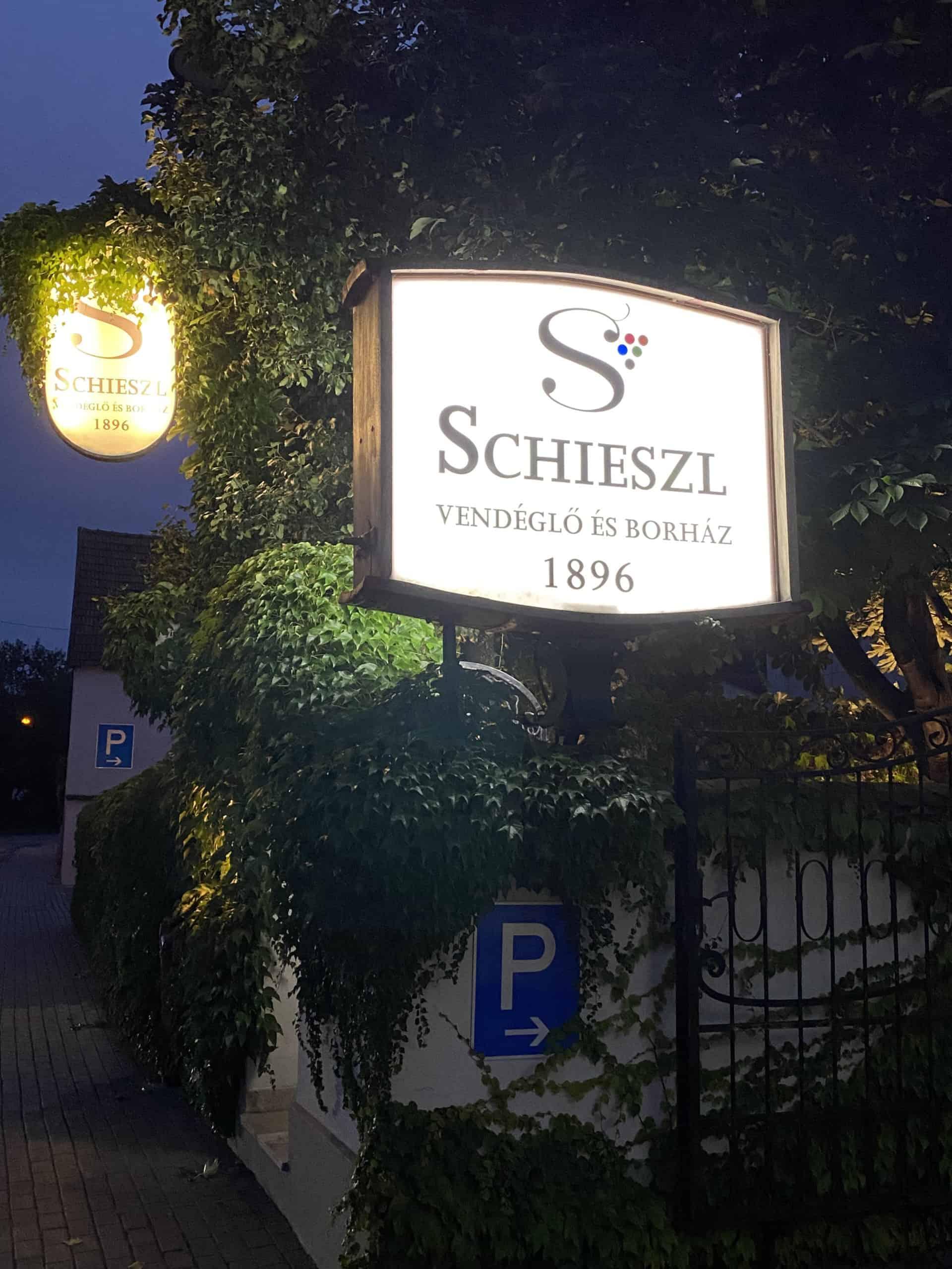 Sign for Schieszl family restaurant